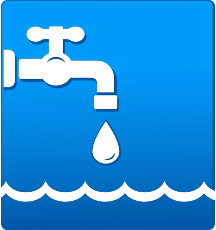 engeneering:    water tap with droplet and wave on blue background