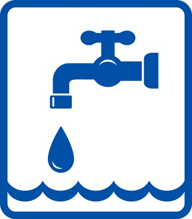 graphic icon with tap and blue water wave in frame