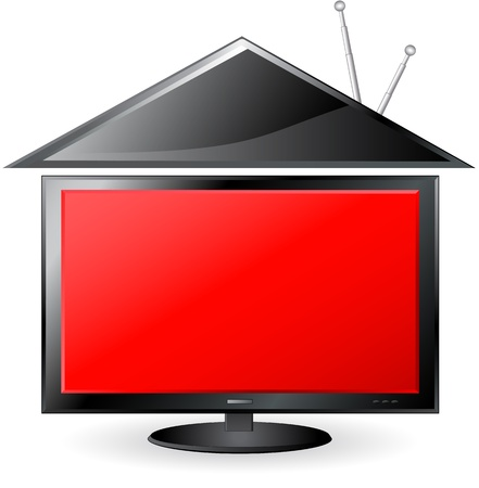 concept red TV and plastic house with antenna Illustration