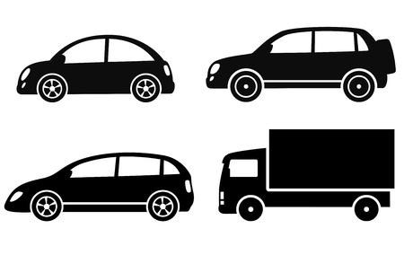 transport: isolerade transporter inställd på vit bakgrund Illustration