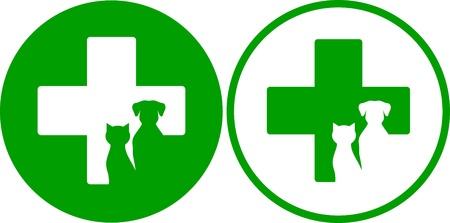 twee groene veterinaire pictogrammen met kruis en huisdieren Stock Illustratie