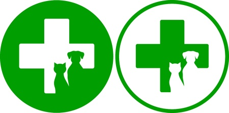 two green veterinary icons with cross and pets Vector