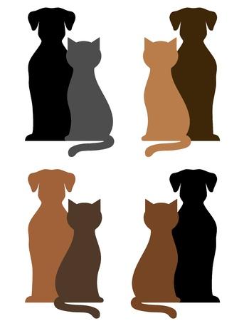 컬러 풀 한 개와 고양이의 집합 흰색 배경에 실루엣
