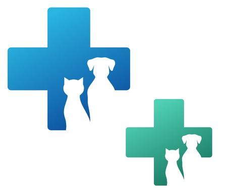 Veterinär-Icon mit Kreuz und Hund Silhouette Vektorgrafik