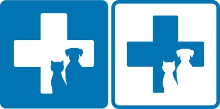 veterinary symbol:  blue veterinary symbol with dog and cat silhouettes