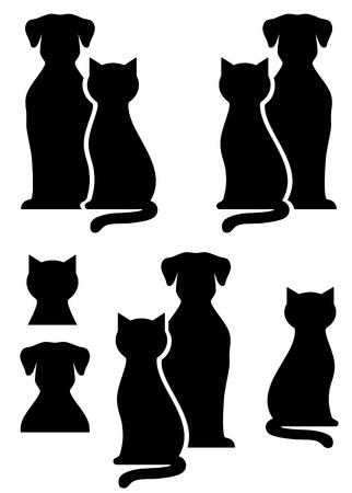 silueta gato: perro aislado negro y la silueta del gato en el fondo blanco Vectores