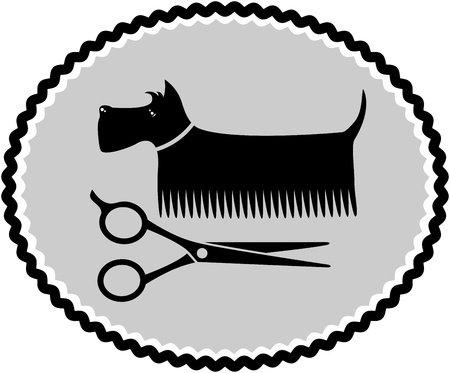 dog haircut sign with scissors and brush