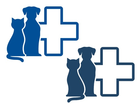 veterinarians:  graphic blue veterinary icons with pets silhouettes