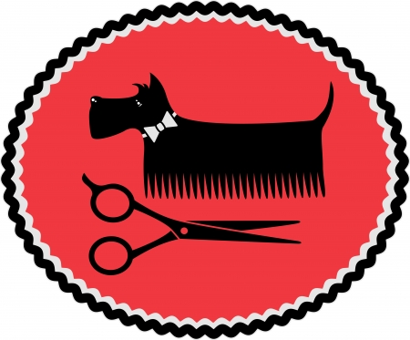 dog grooming: red sign in frame with grooming dog and scissors