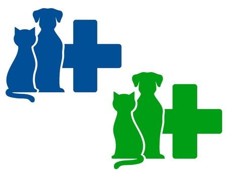 puppy and kitten:   green and blue veterinary icons with dog and cat silhouettes