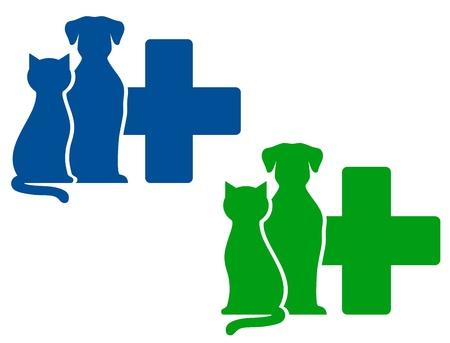 silueta de gato: iconos veterinarios verdes y azules con el perro y el gato siluetas Vectores
