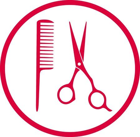 hairdresser shop: pink hairdresser sign with scissors and comb in round frame Illustration