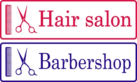 two hairdresser signboaards with text and scissors Vector