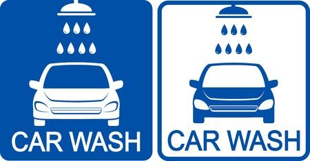 autolavado: dos iconos azules de lavado de coches con ducha Vectores