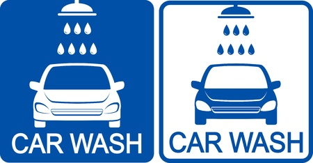two blue car wash icons with shower head Vector