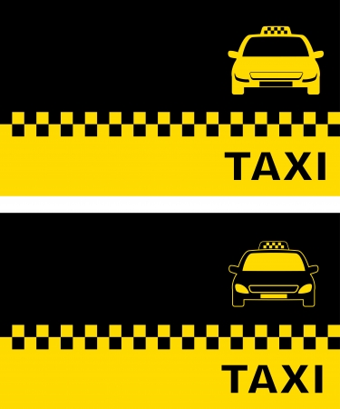 two business card with modern taxi car silhouette Vector