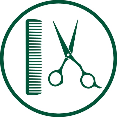 haircare:  green hairdresser sign with professional scissors and comb