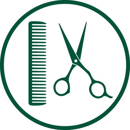 Signo peluquería verde con las tijeras y el peine profesional Foto de archivo - 21984909