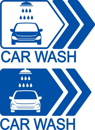 two blue car wash icons with arrow and shower head