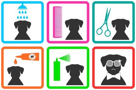 Iconos de cuidado de mascotas con forma de perro con gafas de sol