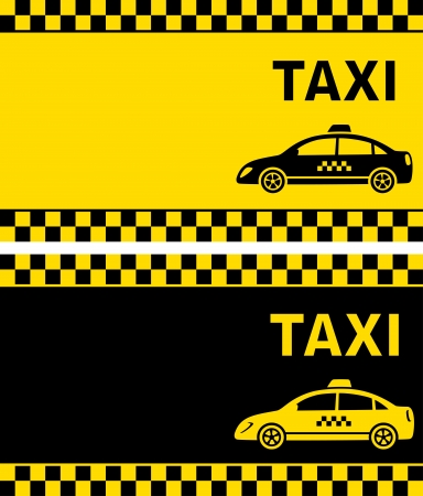 business card with taxi sign and taxi cars silhouette Vector