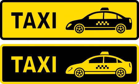 yellow taxi:   two taxi signs with modern taxi car image