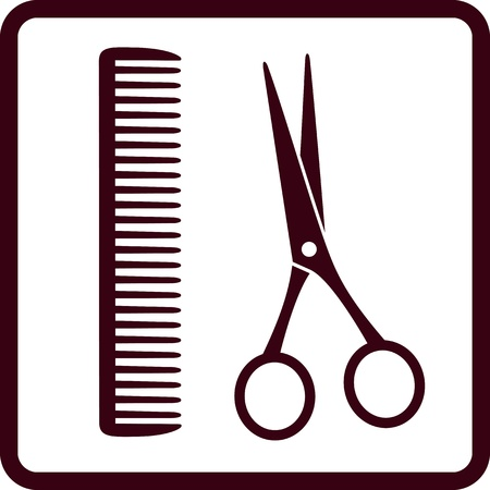hair cutting:  sign with isolated black scissors and comb in frame Illustration