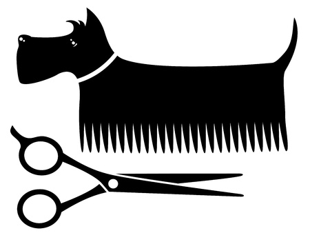 dog grooming:  isolated black grooming dog silhouette with scissors Illustration