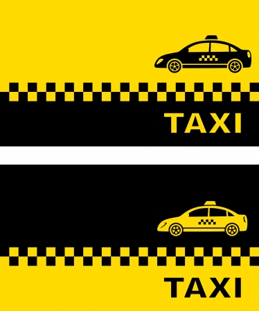 business cards with taxi car and place for text Vector