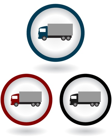 express delivery: colorful modern shipping trucks with shadow on white background Illustration