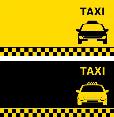 fare: black and yellow business card with taxi car image and text
