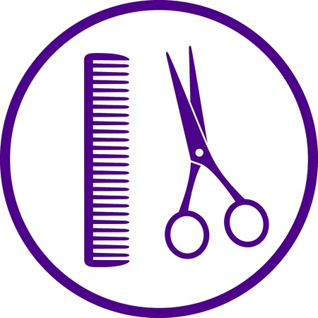 shear: hairdresser sign with scissors and comb on white background