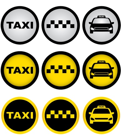 car rent:  set of colorful taxi signs with cab image Illustration