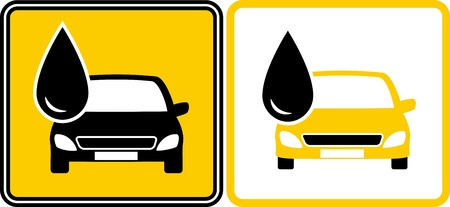 motor oil: two signs with fuel oil drop and car silhouette