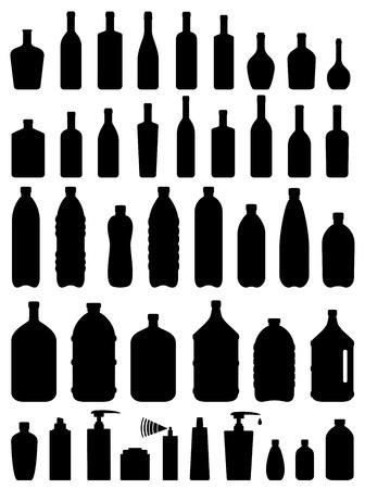 jarra de cerveza: conjunto de vidrio, plástico y botellas de cosméticos en el fondo blanco
