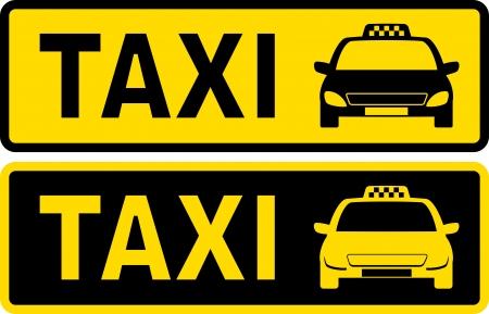 黒と黄色のタクシー タクシーの画像とテキスト記号  イラスト・ベクター素材