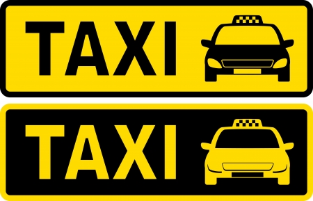 taxi cab:  black and yellow taxi sign with cab image and text Illustration