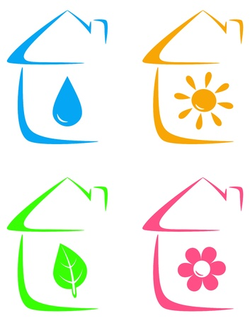 colorful icons of eco house with heating, water drop, flower and leaf images Vector