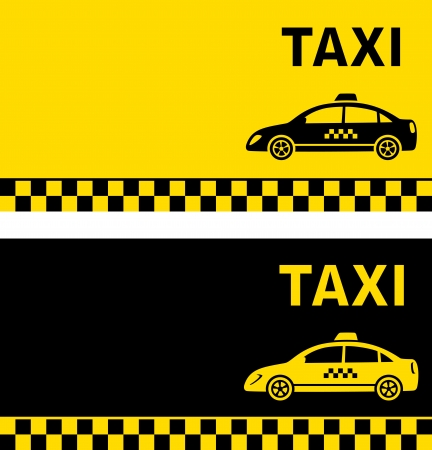 black and yellow taxi business card with taxi image Иллюстрация