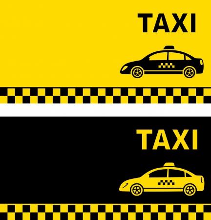 tarjeta de visita de taxi negro y amarillo con imagen Taxi