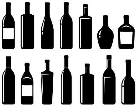 botella de licor: conjunto de botellas de vino negro brillante con iluminaci�n Vectores