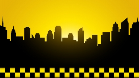 checked:  yellow business card with evening city image Illustration