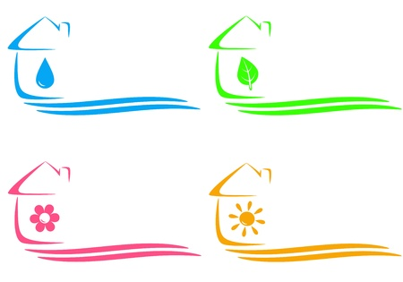 colorful concept icons of eco house, heating and water drop and place for text