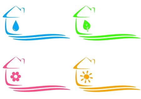 szigetelés: színesebb fogalmát ikonok öko ház, fűtés és víz csepp és helyet a szöveges