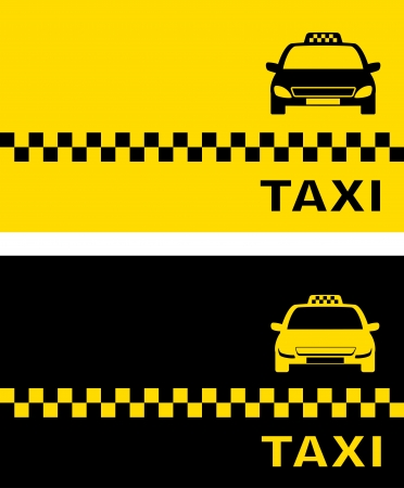 fare:  black and yellow taxi card and taxi car image