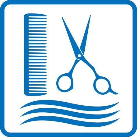 styling: blue hairdresser sign with hair, scissors and comb Illustration