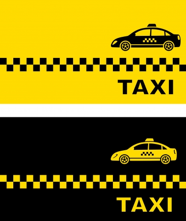 two business card with simple taxi car silhouette Vector