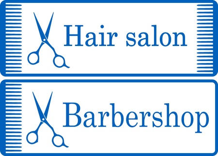two blue barbershop signboard with comb and profeccionalk scissors Illustration