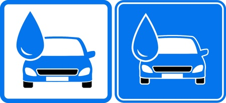two icon with liquid drop and car silhouette Vector