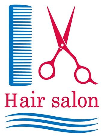 cutting hair:  blue symbol of barbershop with hair and scissors